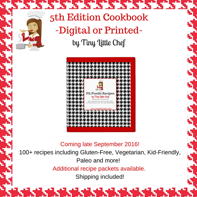 Coming late September 2016!100+ recipes including Gluten-Free, Vegetarian, Kid-Friendly, Paleo and more! Additional recipe packets available. Shipping included!